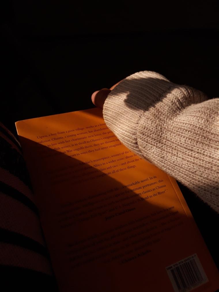Holding a book. Half of a yellow sun by Chimamanda Ngozi Adichie